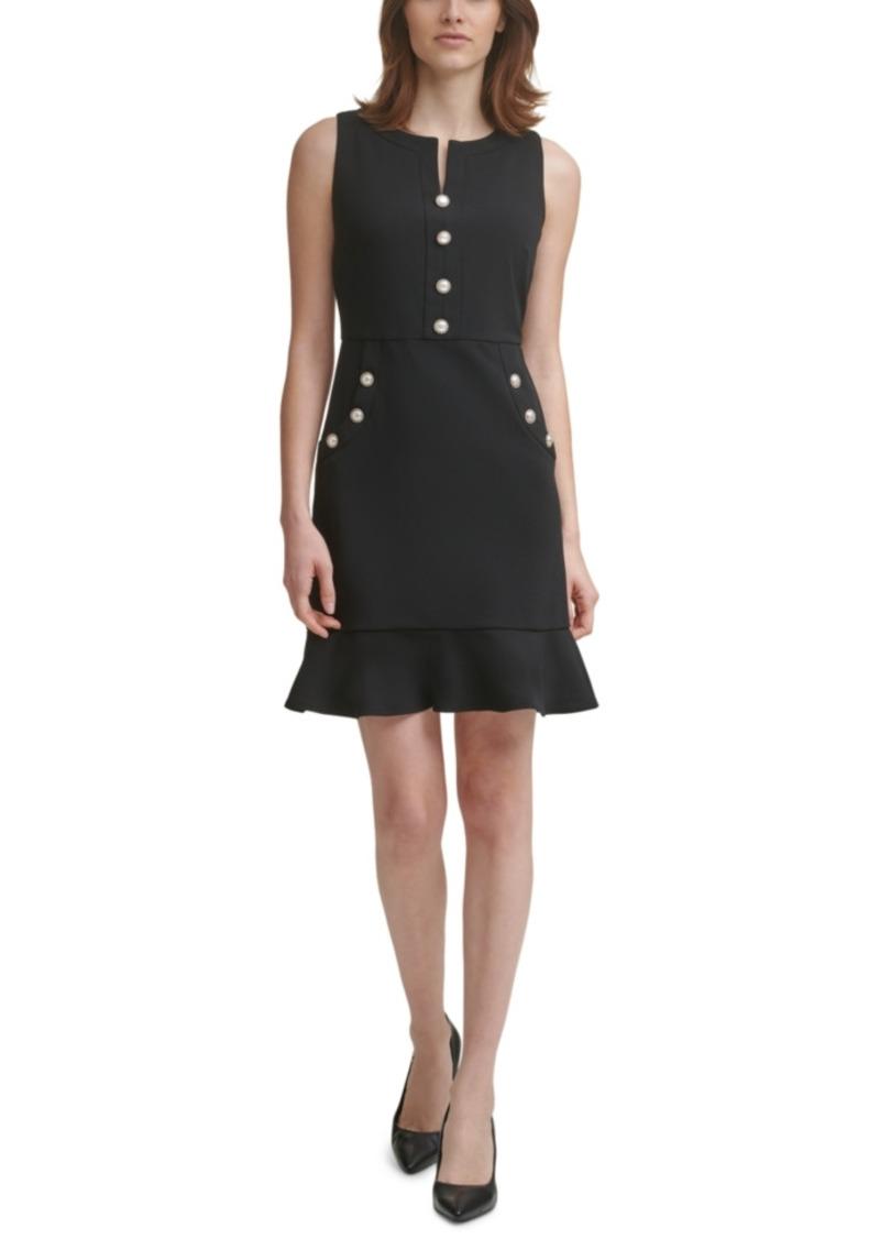 Karl Lagerfeld Paris Imitation-Pearl Button Flounce Dress