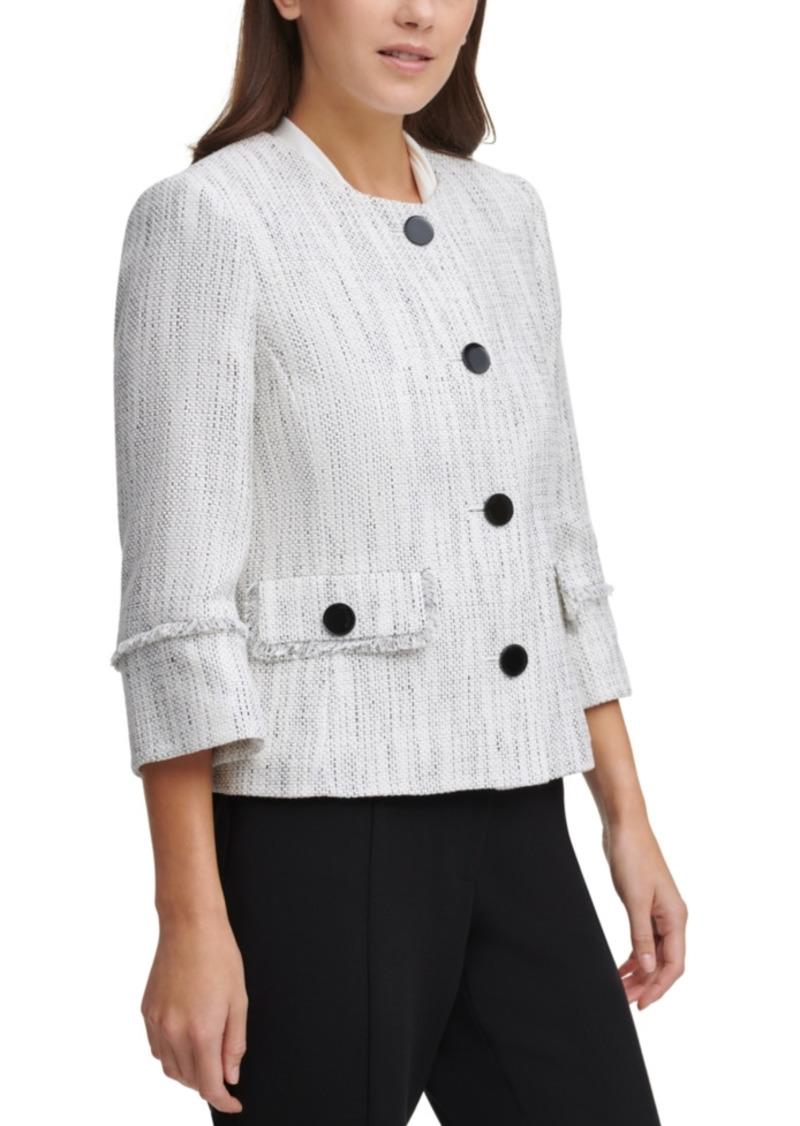 Karl Lagerfeld Paris Fringe-Trim Tweed Jacket