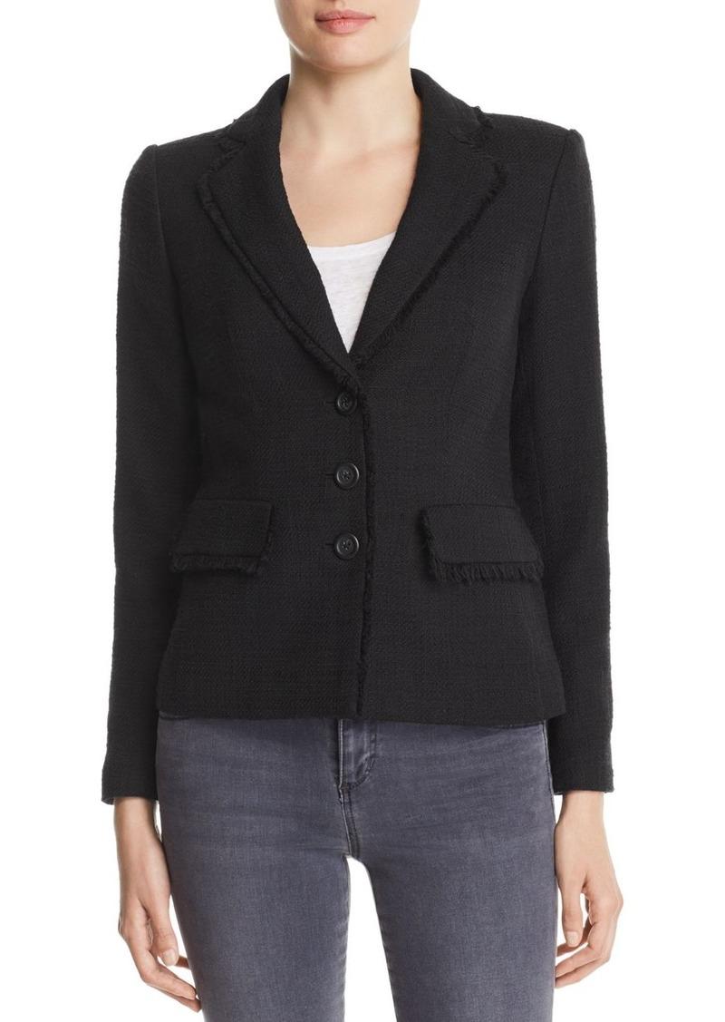 KARL LAGERFELD Paris Fringe Trimmed Tweed Blazer