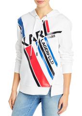 KARL LAGERFELD PARIS Graphic Stripe Logo Hoodie