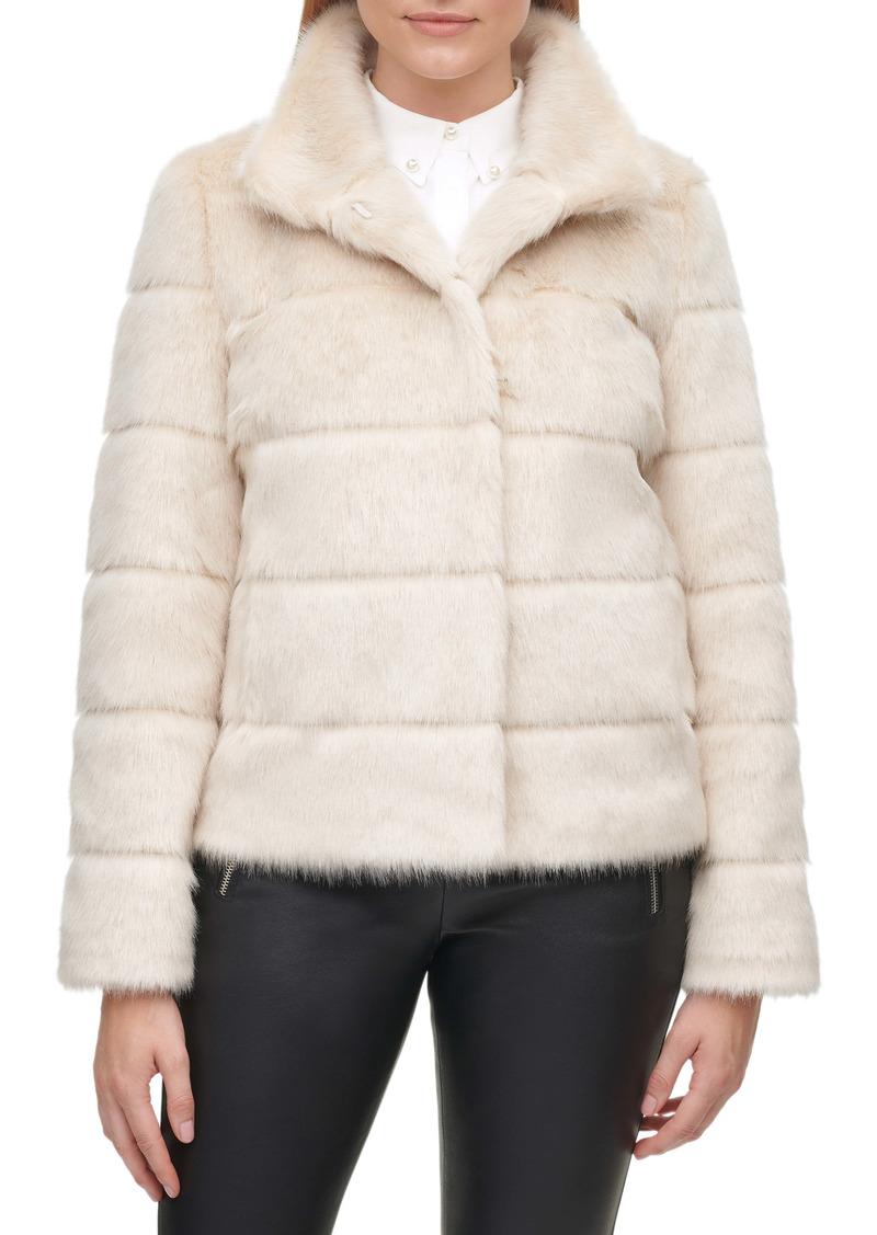Karl Lagerfeld Paris Grooved Faux Fur Jacket