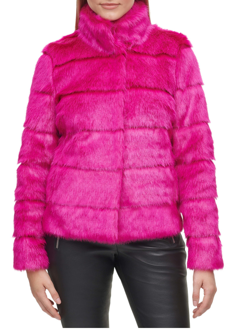 Karl Lagerfeld Paris Grooved Faux Fur Jacket