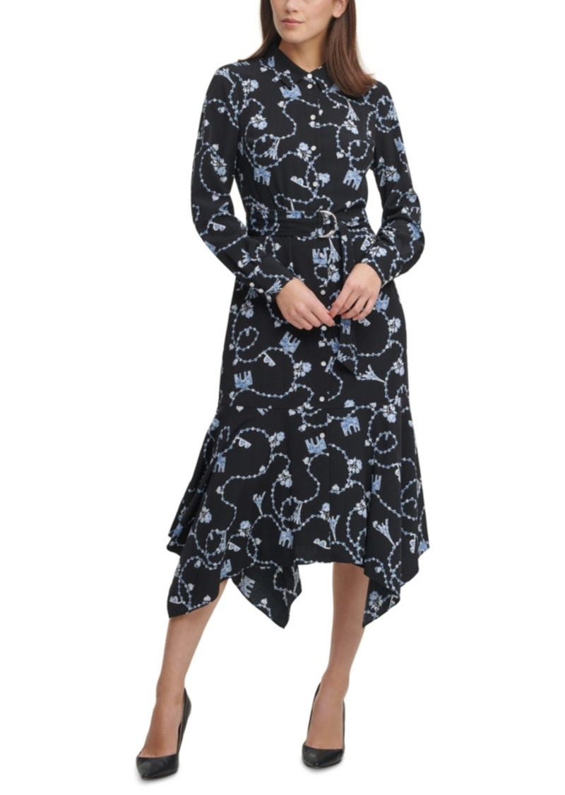 Karl Lagerfeld Paris Handkerchief-Hem Shirtdress