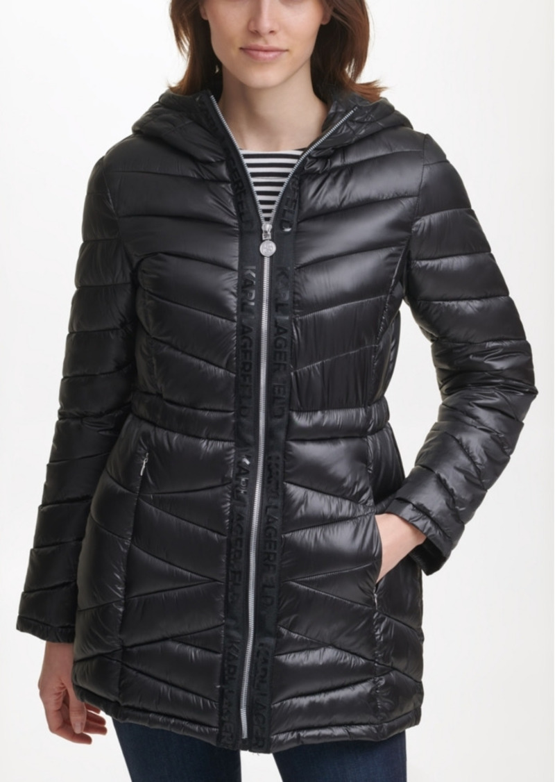 Karl Lagerfeld Paris Hooded Logo Tape Puffer Coat