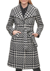 Karl Lagerfeld Paris Houndstooth Women's Single-Breasted Belted Coat