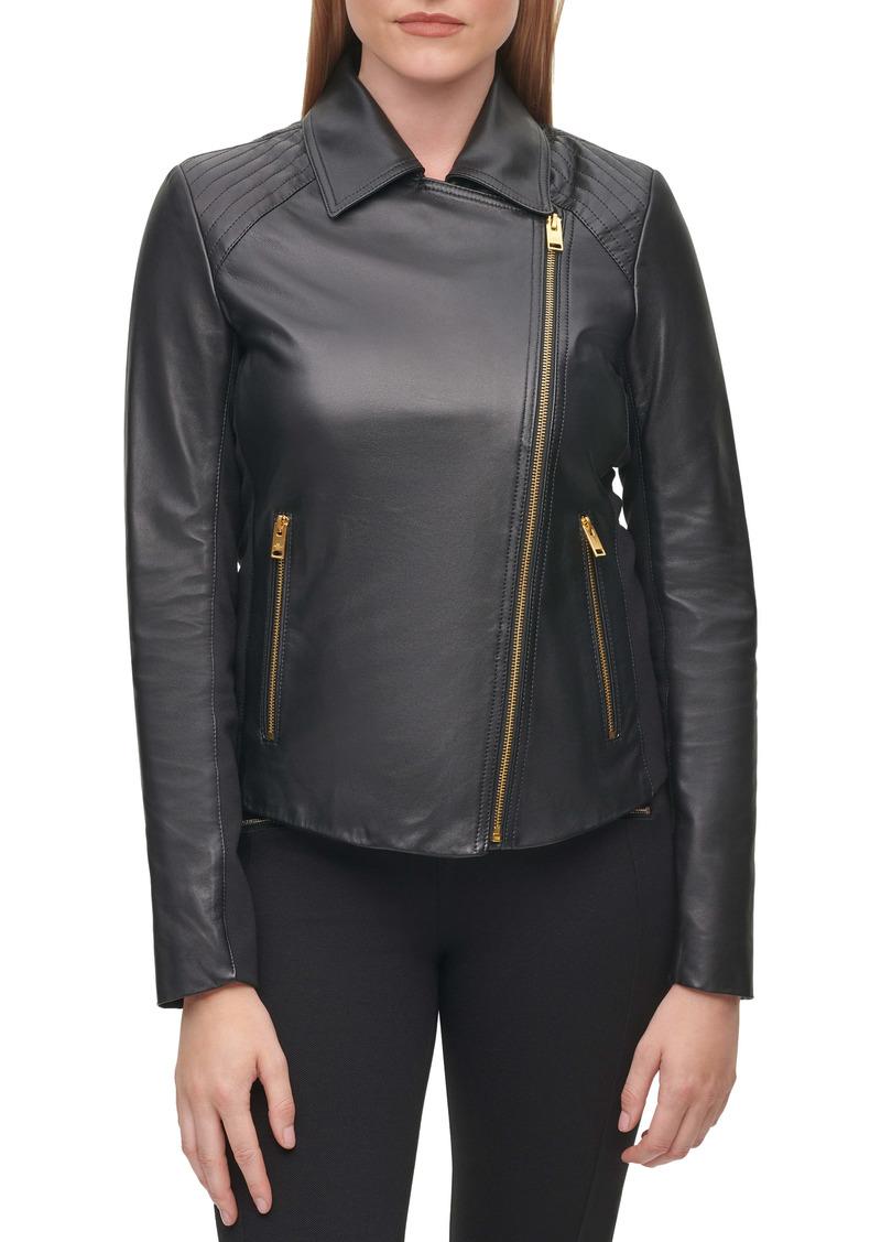 Karl Lagerfeld Paris Knit Panel Leather Moto Jacket