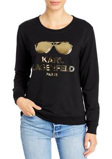 KARL LAGERFELD PARIS Metallic Sunglasses Logo Sweatshirt