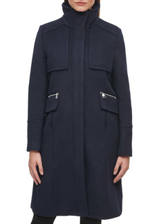 Karl Lagerfeld Paris Officer Wool Blend Coat