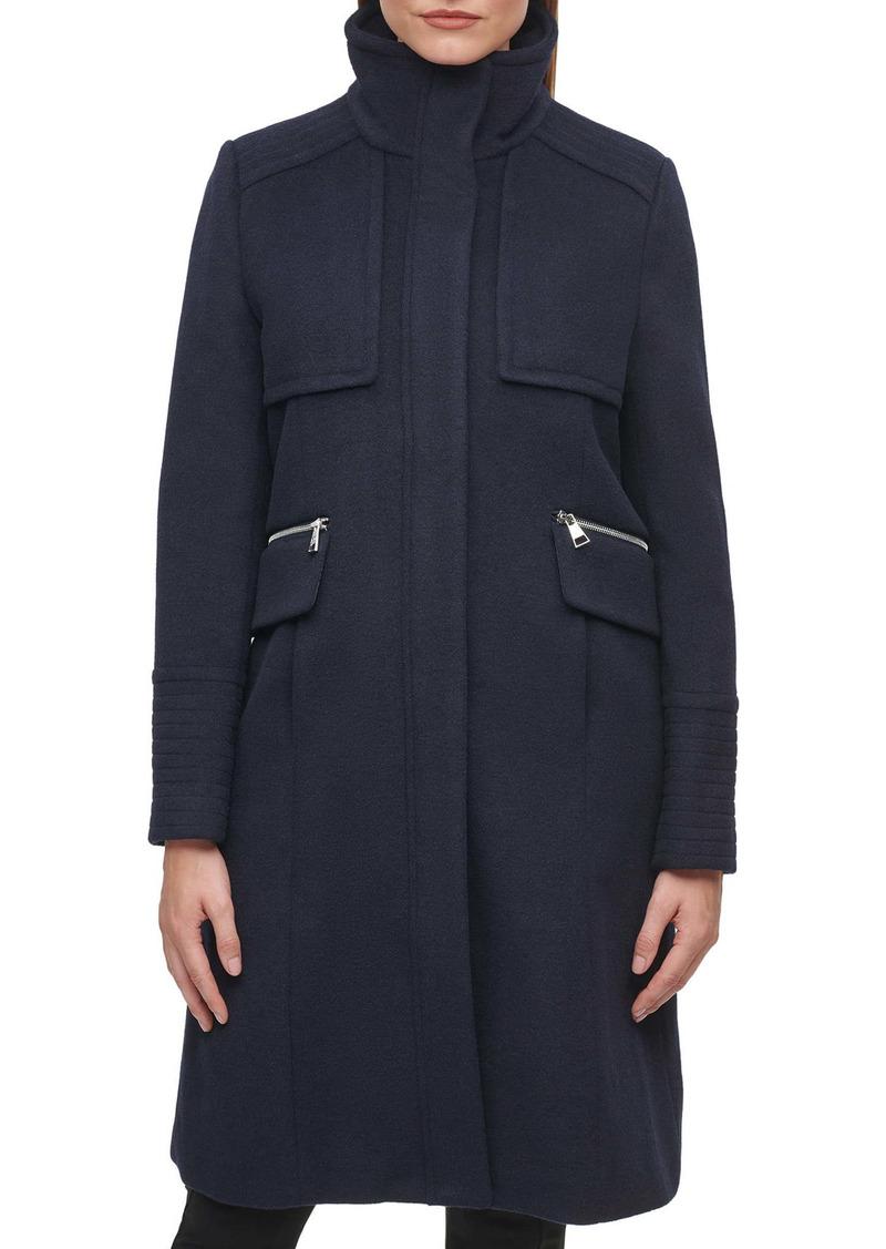 Karl Lagerfeld Paris Officer Wool Blend Coat
