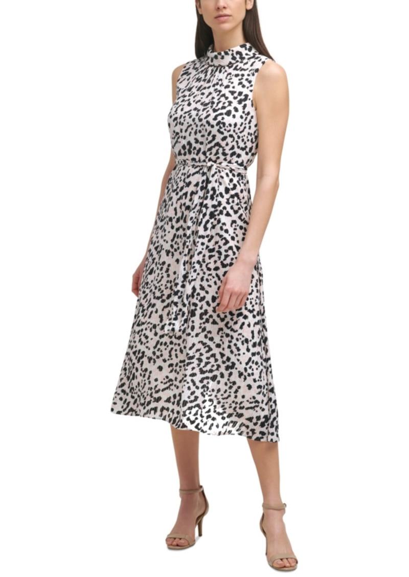 Karl Lagerfeld Paris Printed Belted Dress