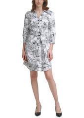 Karl Lagerfeld Paris Printed Belted Shirtdress