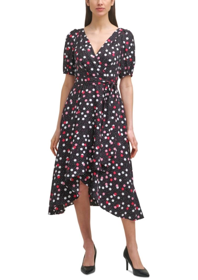 Karl Lagerfeld Paris Printed Faux-Wrap Dress
