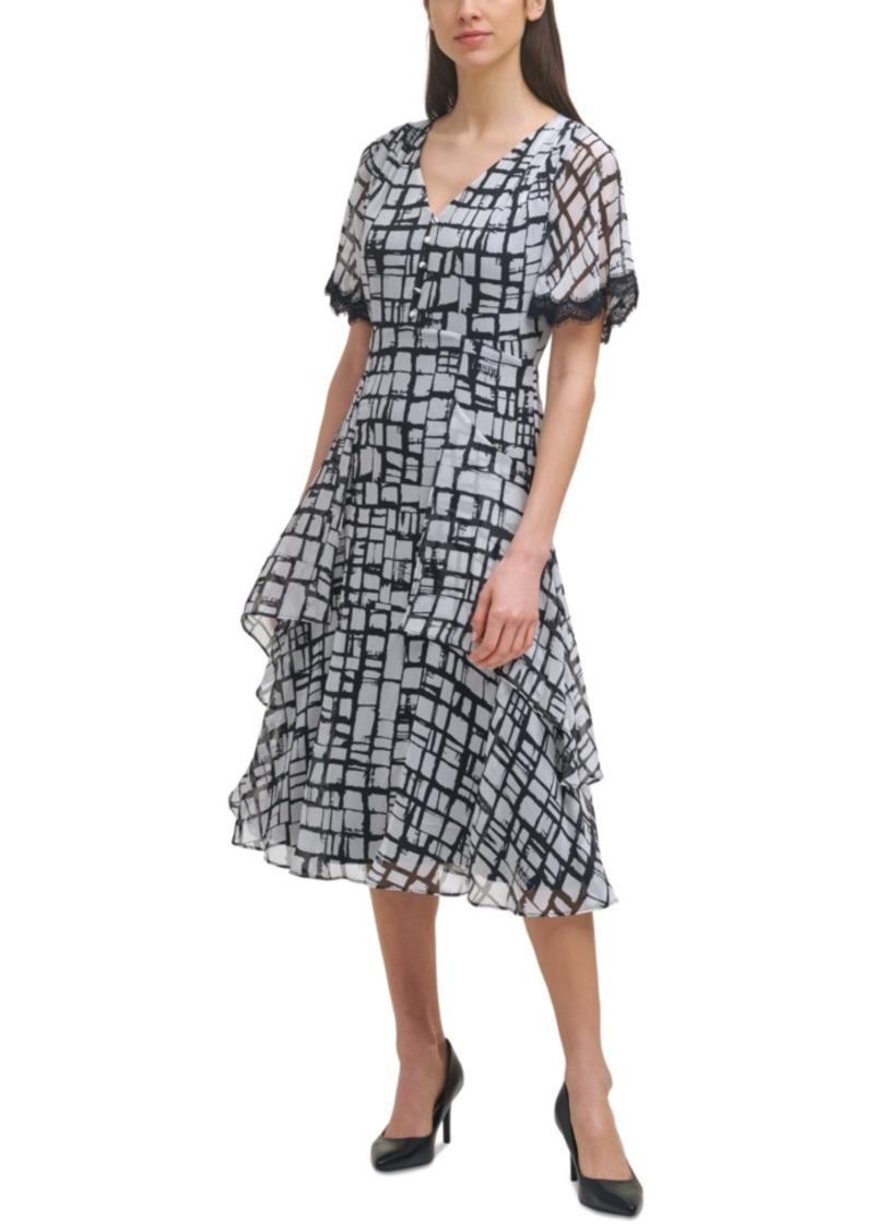 Karl Lagerfeld Paris Printed Lace-Trim Dress