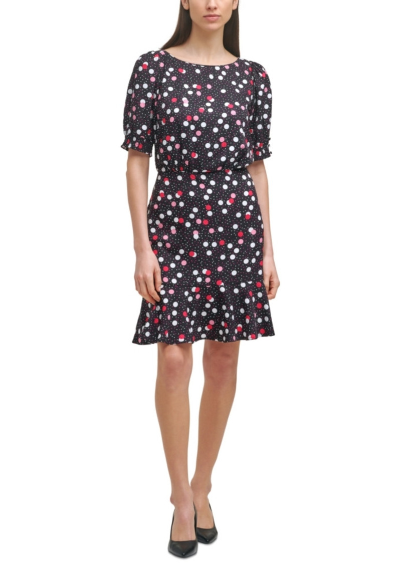 Karl Lagerfeld Paris Printed Ruffled-Hem Dress