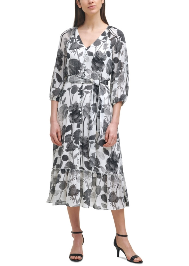 Karl Lagerfeld Paris Printed Tie-Waist Dress
