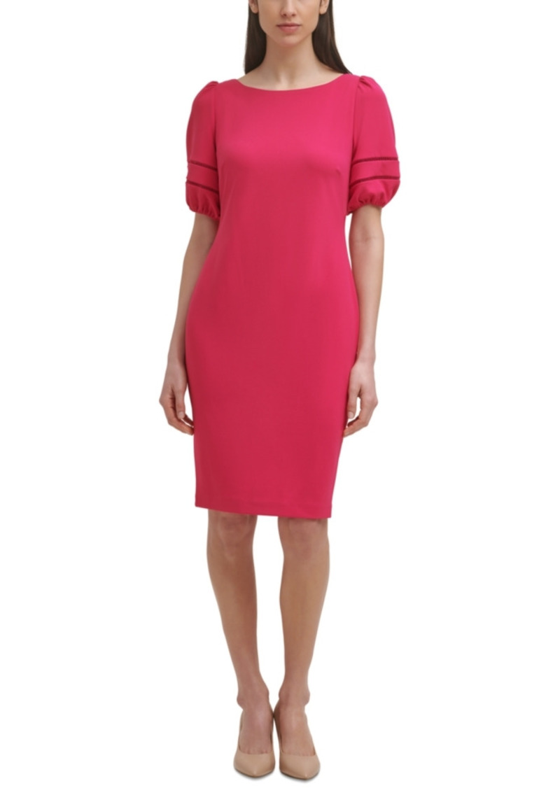 Karl Lagerfeld Paris Puff-Sleeve Sheath Dress