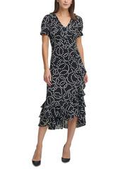 Karl Lagerfeld Paris Ruffled Midi Dress