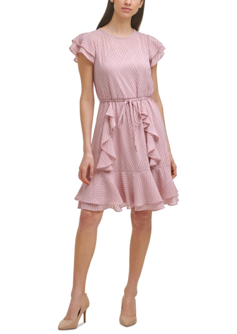 Karl Lagerfeld Paris Ruffled Textured Dress