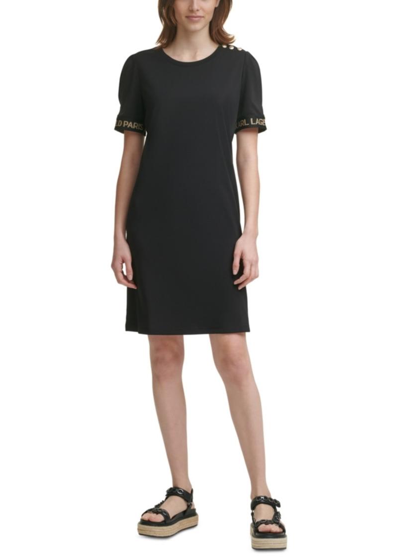 Karl Lagerfeld Paris Solid Puff-Sleeve Sheath Dress