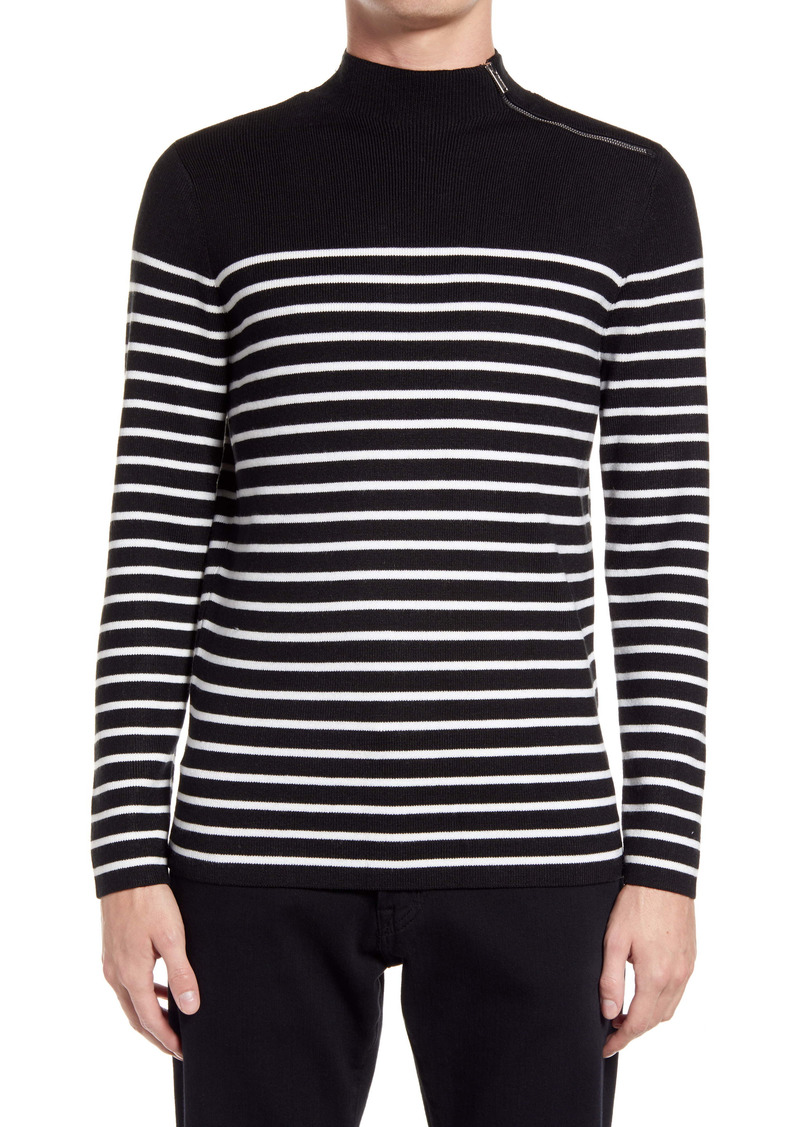 Karl Lagerfeld Paris Stripe Zip Mock Neck Sweater