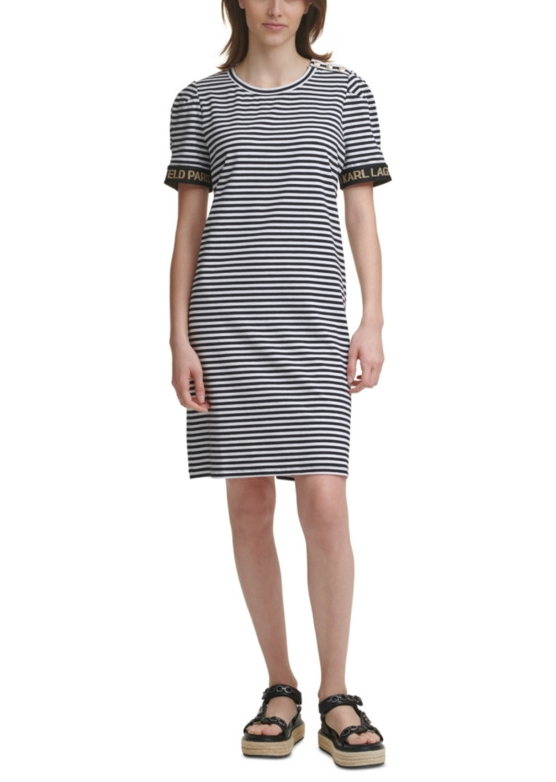 Karl Lagerfeld Paris Striped Puff-Sleeve Sheath Dress