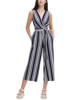Karl Lagerfeld Paris Striped Wide-Leg Jumpsuit