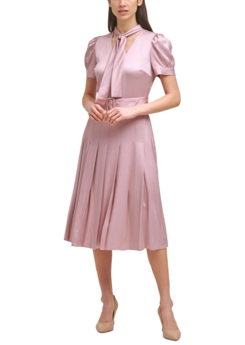Karl Lagerfeld Paris Tie-Neck Pleated Dress