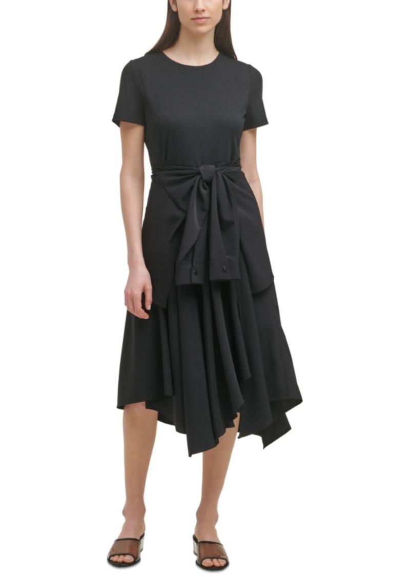 Karl Lagerfeld Paris Tie-Waist Handkerchief-Hem Dress