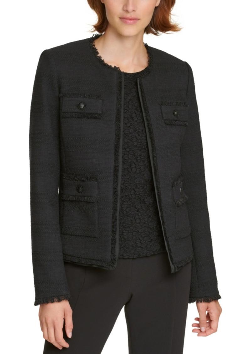 Karl Lagerfeld Paris Tweed Fringe-Trim Jacket