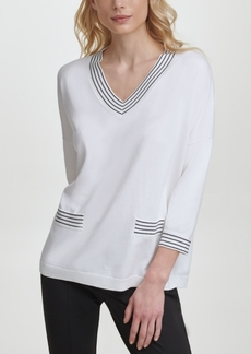 Karl Lagerfeld Paris V-Neck Sweater with Pockets