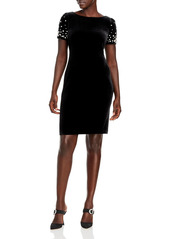 KARL LAGERFELD PARIS Velvet Embellished Sheath Dress