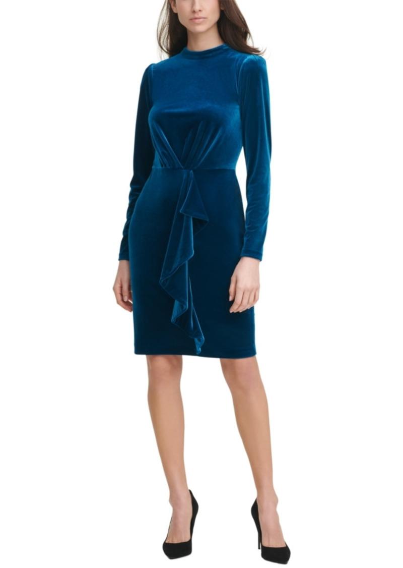 Karl Lagerfeld Paris Velvet Mock-Neck Sheath Dress