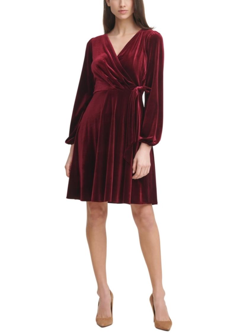 Karl Lagerfeld Paris Velvet Side-Tie Shift Dress