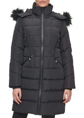 Karl Lagerfeld Paris Water Resistant Down & Feather Parka with Faux Fur Trim