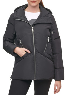 Karl Lagerfeld Paris Water Resistant Hooded Down & Feather Puffer Jacket