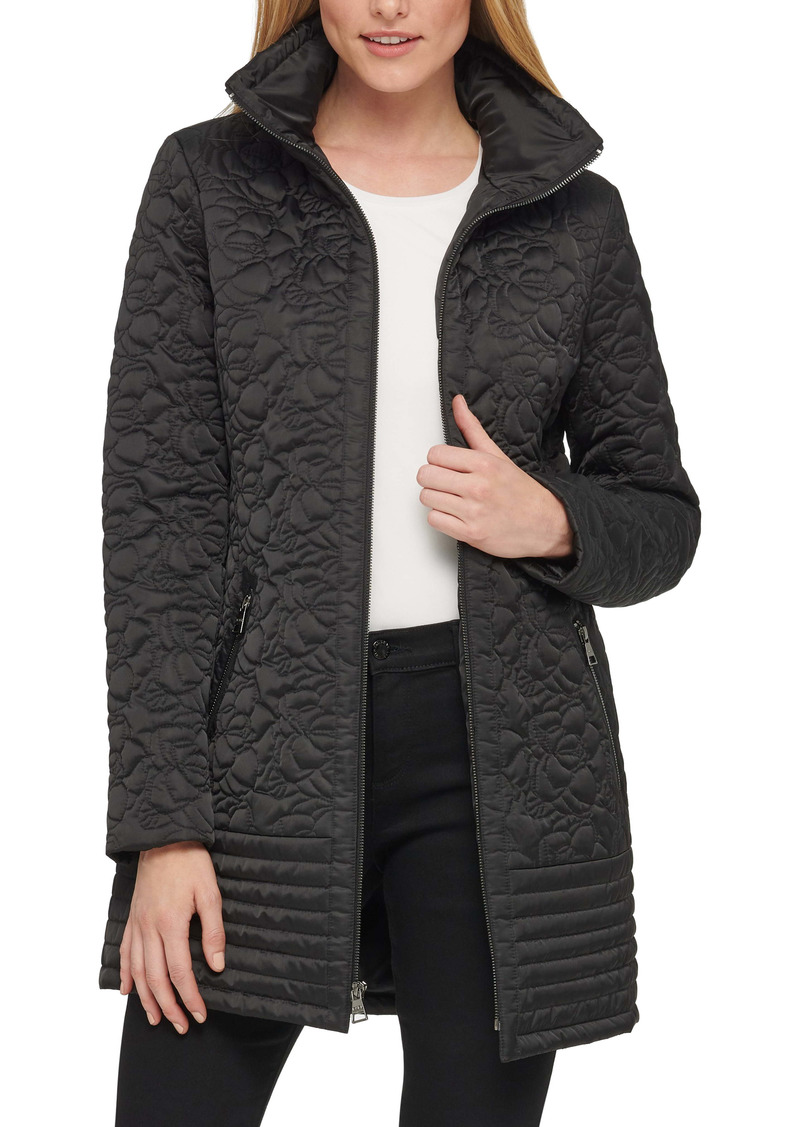 Karl Lagerfeld Paris Water Resistant Quilted Long Coat