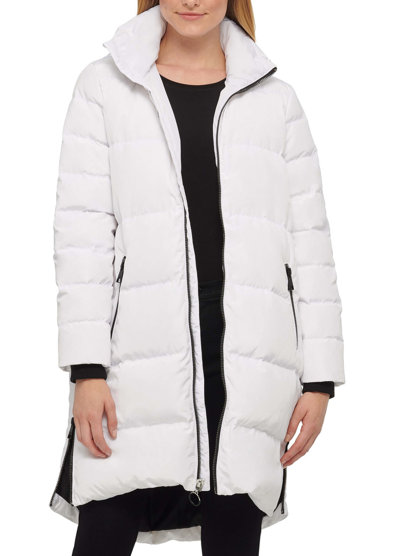 Karl Lagerfeld Paris Wide Channel Down & Feather Puffer Coat with Removable Hood