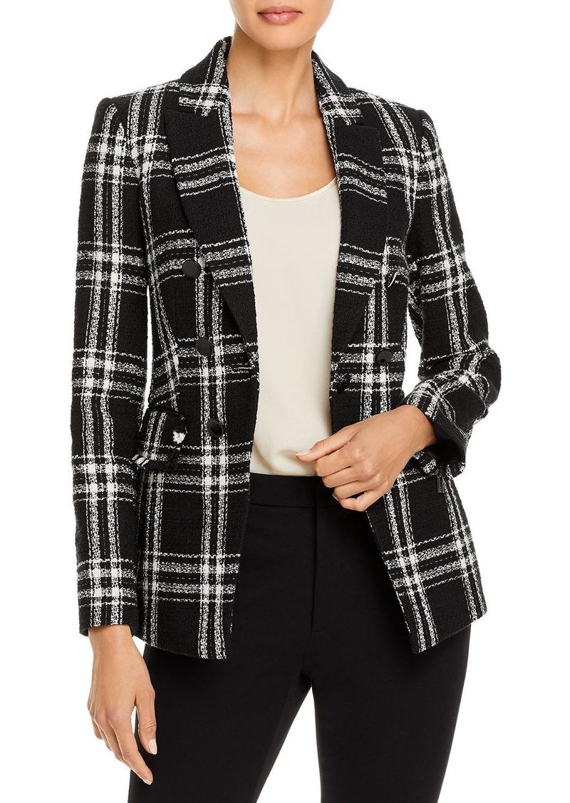 KARL LAGERFELD PARIS Windowpane Plaid Tweed Jacket