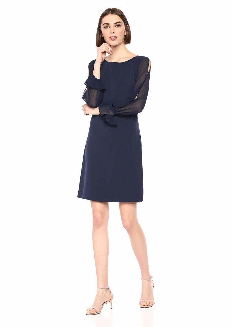 Karl Lagerfeld Paris Women's CHIFFON SLEEVE CREPE SHEATH DRESS