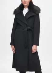 Karl Lagerfeld Paris Women's Faux Fur Collar Belted Wrap Coat