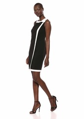 Karl Lagerfeld Paris Women's Scuba Crepe Bow Dress with Overlay