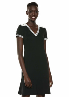Karl Lagerfeld Paris Women's Short Sleeve Dress with Lace Detail