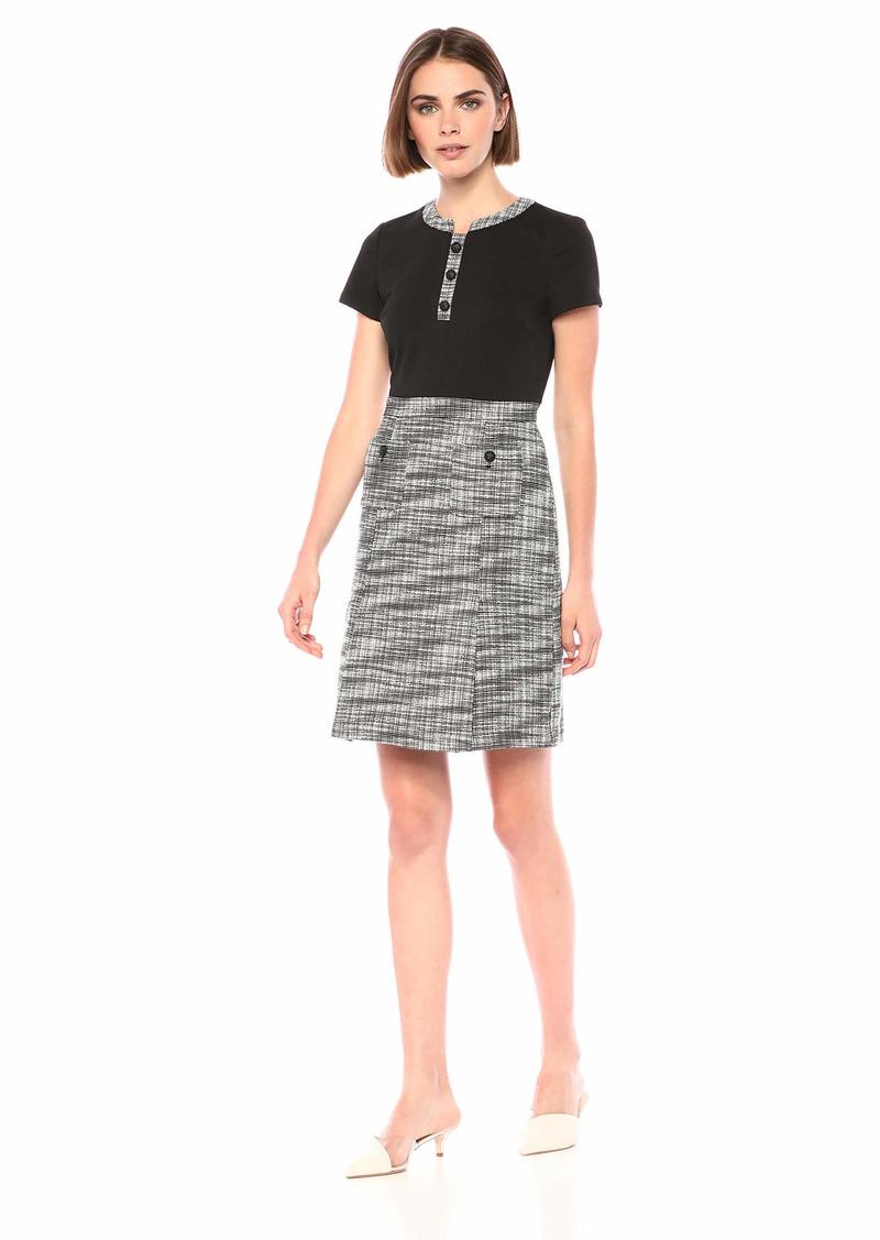 Karl Lagerfeld Paris Women's Short Sleeve Sheath Tweed Dress