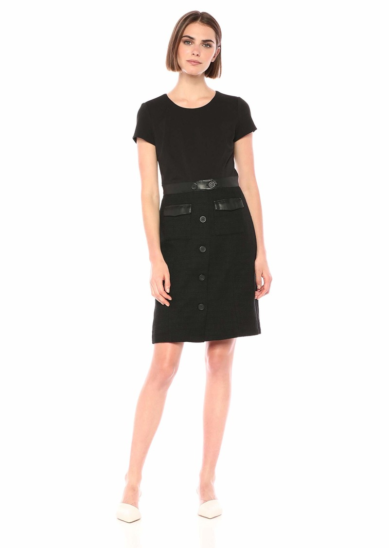 Karl Lagerfeld Paris Women's Short Sleeve Tweed Dress