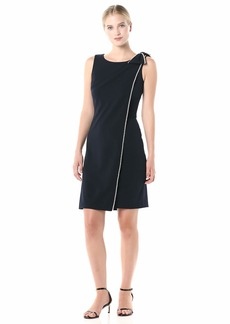 Karl Lagerfeld Paris Women's Solid Sheath Dress with Bow Shoulder and Pearls