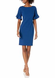 Karl Lagerfeld Paris Women's Solid Sheath Dress with Short Tulip Sleeve