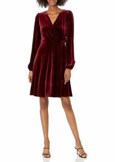 Karl Lagerfeld Paris Women's Stretch Velvet Wrap Dress