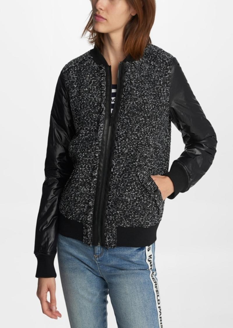 Karl Lagerfeld Paris Women's Tweed Bomber Jacket
