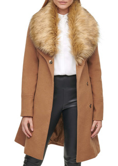 Karl Lagerfeld Paris Wrap Coat with Faux Fur Collar