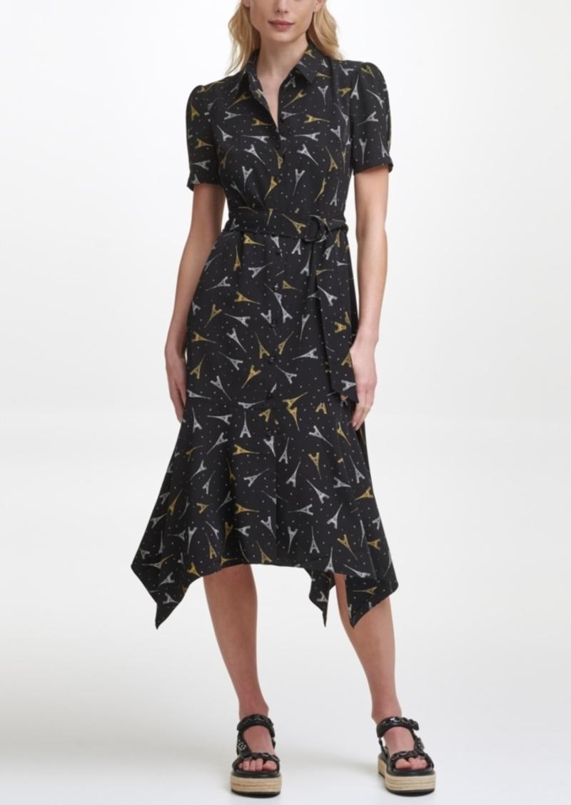 Karl Lagerfeld Puff Sleeve Midi Dress